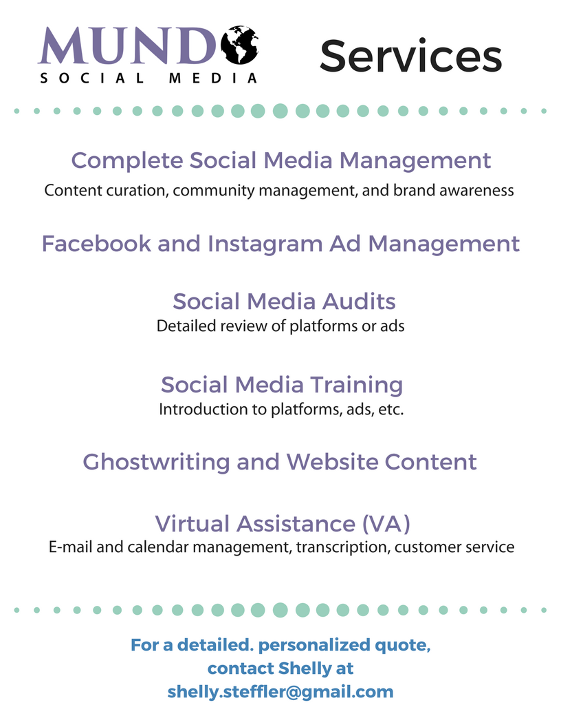 Social media management, ads, audits, training, content, virtual assistance
